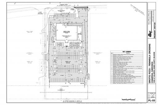 The site plan of the Grotto Pizza in Peninsula Crossing that was recently approved by the Millsboro Town Council.