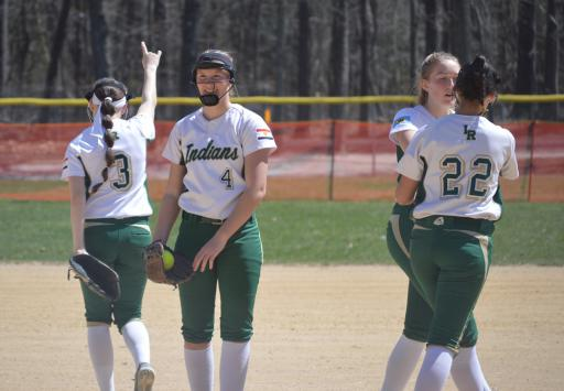 IR pitcher Abby O'Shields celebrates after a strikeout last year.