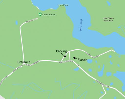 A map of the Assawoman Wildlife Area  showing the exact location for the planting and parking.