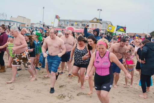 Polar Bears jump into the Atlantic Ocean during last year's event in Lewes. This year's event will benefit SODE.