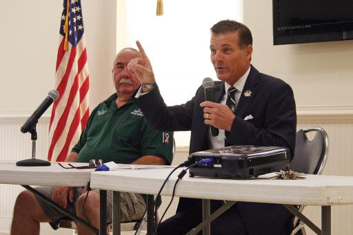 Sussex County Councilman Rob Arlett speaks with veterans and other audience members at Selbyville Town Hall on Tuesday, July 10.
