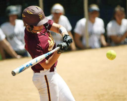Sami Mumford takes a swing while playing for Salisbury University.