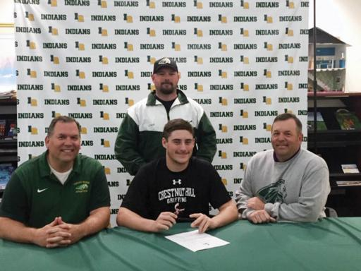 Indian River's Zach Schultz will be taking his lacrosse talents to Philadelphia's Chestnut Hill College, a NCAA Division II program, in the fall to study criminal justice administration. He is seen here with IR head coach Dave Spencer, left, Shane Forrey, back, and Arien Curcio.