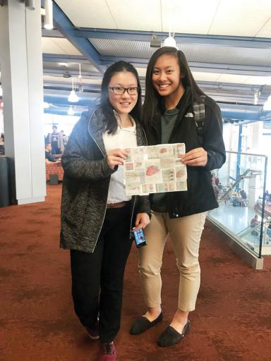 DCHS students Alice Xu and Abby Agapito display the 120-numbered Anatomy & Physiology test that they completed with time to spare, and in which they placed 11th in the state and first in Sussex County in the 2019 Science Olympiad.