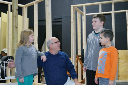 Lilly Truitt (Scout), Steve Perry (Atticus), Justin Truitt (Jem) and Xander Proseus (Dill) at a recent practice.