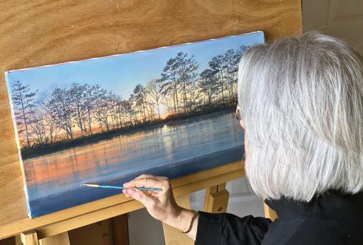 Ellen Rice works on one of the new paintings she'll introduce at her new Ellen Rice Studio and Learning Center in Ocean View during the free, self-guided 25th Annual SEDAST studio tour Friday and Saturday of Thanksgiving weekend from 10 a.m. to 4 p.m. each day.