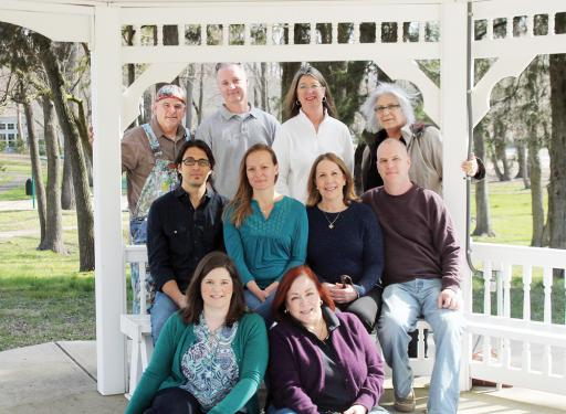 Participants in the SouthEastern Delaware Artists Studio Tour gather beneath the gazebo in Dagsboro's Katie Helm Park. Pictured, from left, are: front row, ceramic artist Mary Bower, photographer and painter Jennifer Carter; second row, glass artist Justin Cavagnaro, ceramic and jewelry designer Kim Doughty-Cavagnaro, painter and collage artist Eileen Olson, and glass and photo manipulation artist Jeffrey Todd Moore; and, back row, painters John Donato, Damon Pla, Cheryl Wisbrock and Ellen Rice.