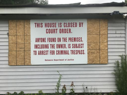 This Washington Avenue house was boarded up after being officially declared a criminal nuisance property in Selbyville, near Polly Branch Road.