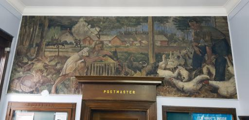 The Selbyville Post Office mural was installed in 1942, showing a slice of Delmarva life.