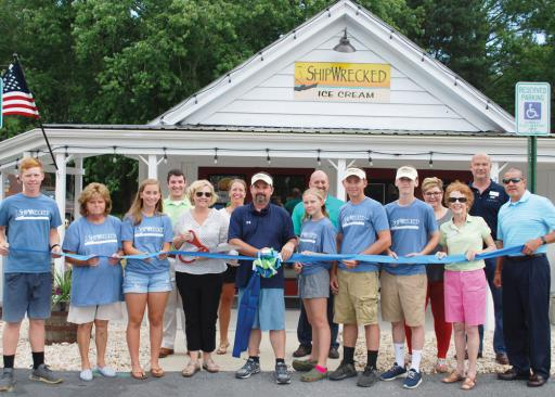 Shipwrecked owners and staff celebrate the Grand Opening with family, friends, and the Bethany-Fenwick Area Chamber of Commerce.