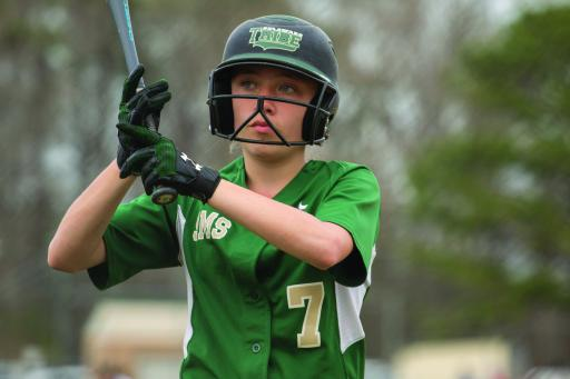 Selbyville Middle's Lily Hoban prepares for her at bat on Monday, April 8.