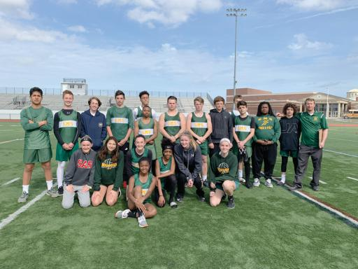 The SMS track team poses for a photo. Front row, Devin Hundley, Aniyah Blake, Bella Sharpe, Saige Dismuke, Mya MacDonald and Scarlett Dunn. Back row, Eddie Valdez, Evan Peterson, Bennett White, Douglas Murray, Ashton Stephens, Johnathon Johnson, Hayden Davis, Hayden Hall, Thomas Gogarty, Cole Brickman, Maxwell Curcio, Ramier Turner and Cole Donnelly.
