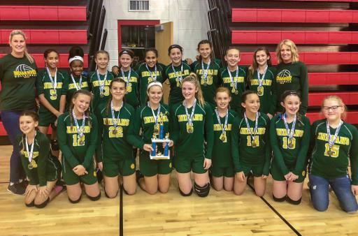 The SMS volleyball team went undefeated on the year and earned the state championship title.