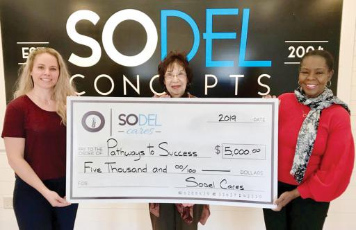 SoDel Cares, the philanthropic arm of SoDel Concepts, recently donated $5,000 to Pathways to Success, which helps prepare youth and their families for success in life. Pictured, from left, are: Lindsey Barry, president of SoDel Cares, Sarah Gilmour, outreach coordinator for Pathways to Success, and Fay Blake, executive director of Pathways to Success.