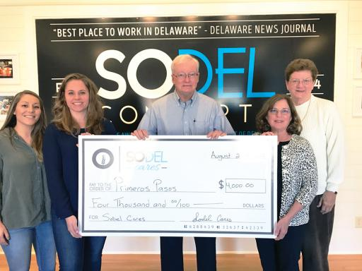 SoDel Cares recently donated $4,000 to Primeros Pasos, an early-childhood learning center in Georgetown. Pictured, from left, are: Danae Evans, manager of NorthEast Seafood Kitchen; Lindsey Barry, president of SoDel Cares and controller for SoDel Concepts; David Baker, a Primeros Pasos board member; Sandy Baker, president of Primeros Pasos' board; and Barbara Tenny, a Primeros Pasos board member.