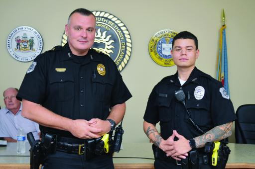 Having completed police academy, Officer Terik Fullerton was congratulated by South Bethany Police Department, pictured here with Chief Jason Lovins.