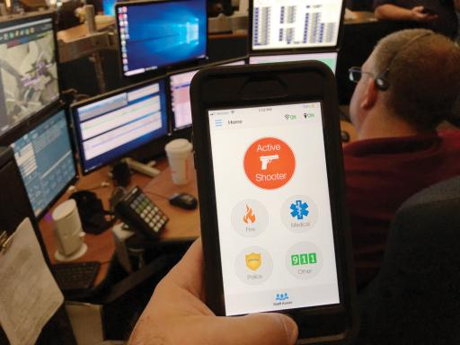 Sussex Tech is the first local school district to use the state-sponsored Rave Panic Button mobile app, shown here during a test in the Sussex County Emergency Operations Center.