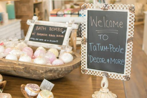 These bath bombs are just the tip of the iceberg at Tatum-Poole Décor & More, which also sells home furnishings, glassware, soy candles and countless gift ideas.