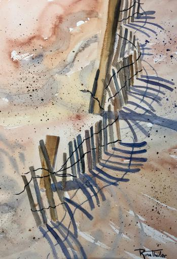 Rina Thaler's watercolor, 'Fenced In' is just one of the paintings to be featured in Gallery One's 'Dark Shadows' exhibit.