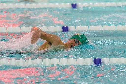 Declan Burke shows good breathing technique during a swim versus Sussex Academy earlier this season.