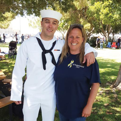 Cameron and Lisa Travalini enjoy time together during her tour of the U.S.S. Theodore Roosevelt.