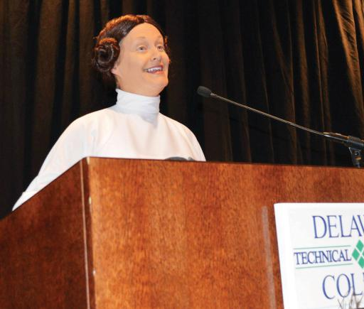 DelDOT Secretary Jennifer Cohen addressed the crowd at Delaware Tech's Today & Tomorrow Conference on Halloween in full 'Princess Leia' regalia.