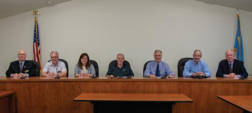 The new Ocean View Town Council, pictured from left, Frank Twardzik, Berton Reynolds, Town Manager Carol Houck, Mayor Walter Curran, Attorney Dennis Schrader, Tom Maly and Bruce White.