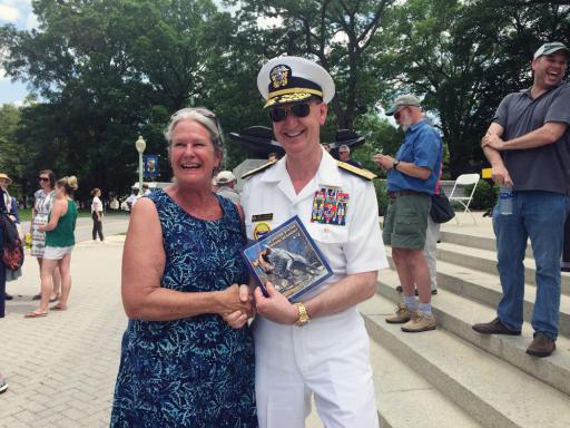 Joanne Guilfoil and Vice Adm. Walter 'Ted' Carter pose at the Herndon Climb.