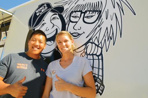 Ben and Brea Wang stand in front of their new Wang's World food truck in South Bethany.